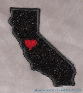 Embroidered-Black-Glitter-Sparkle-California-CA-Love-State-Patch-Iron-On-Sew-USA