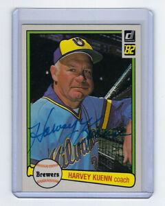 1982-BREWERS-Harvey-Kuenn-signed-card-Donruss-578-AUTO-Autographed-Milwaukee