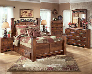 NEW-Traditional-Design-Brown-Finish-5-piece-Bedroom-Set-w-King-Storage-Bed-IA0I