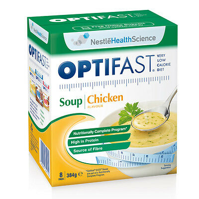 New 48g X 8pc Optifast Chicken Soup Diet Food Low Calorie High Protein Snack
