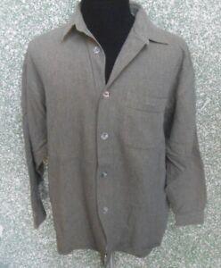 180-E82-SIGNUM-Herren-Hemd-Gr-L-grau-messing-langarm-Kentkragen-Herrenhemd