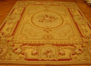 Hand Woven Rug 8 X 10 Yellow Red Accent French Design