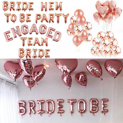"""16/"""" TEAM BRIDE TO BE ENGAGED Rose Gold Letter Wedding Hen Party Balloons Banners"""