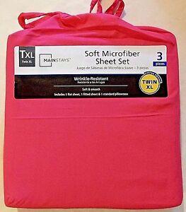 Mainstays Soft Microfiber Racy Pink Twin Xl Sheet Set 3 Pcs Nwt