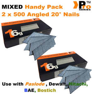 63mm nail pack for Dewalt Mixed 16g ANGLED 20° Nails Paslode 2 x 500 50mm