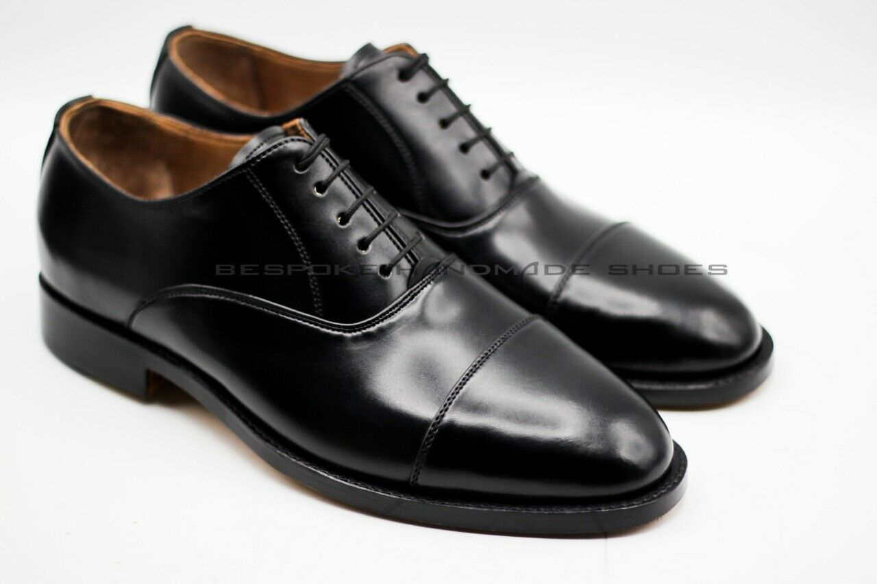 Men's Handcrafted Genuine Black Leather Toe Cap Lace Up shoes Formal Wear