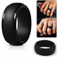 Black-Silicone-Ring-Rubber-Wedding-Band-Flexible-for-Men-Workout-Male-Lifestyle thumbnail 1