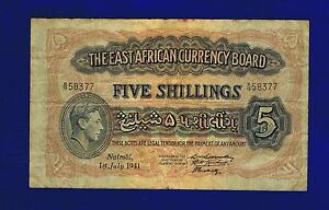East-Africa-British-5-Shillings-1941-PIC28A-Almost-fine-Fine