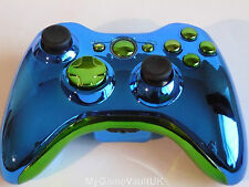 Xbox 360 Wireless Controller Official Custom Chrome Blue & Green Fast Dispatch