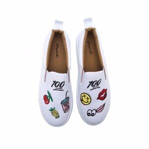 newest cabf1 f47e3 Image is loading Emoji-White-Canvas-Sneakers