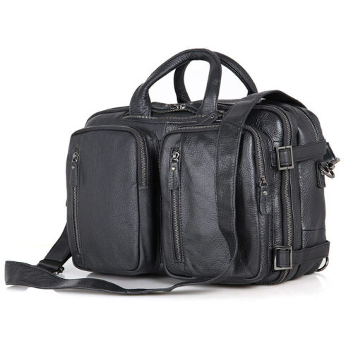 Classic Cow Leather Men/'s Black Hand Laptop Bag Backpack Travel Cross Body Bag
