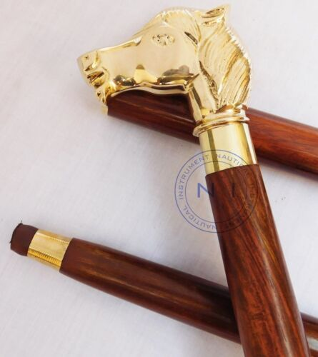 Handmade Brass Horse Head Handle Vintage Victorian Wooden Walking Stick Cane New