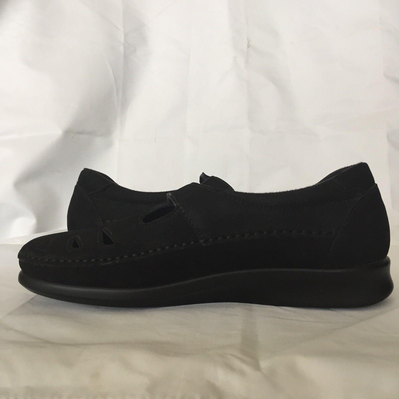 SAS Women's Size 7.5 N Roamer Charcoal Charcoal Charcoal Black Leather Moccasin Tripad Comfort 981f61