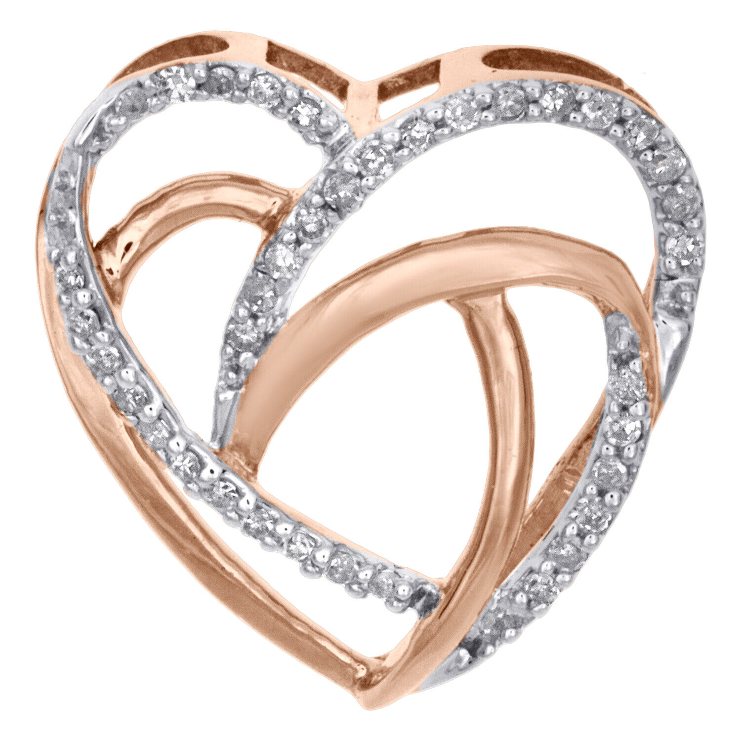 Independent 9ct White Gold 0.10ct Diamond Eternity Ring With Rose Gold Heart Diamond