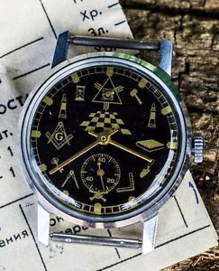 Soviet-watch-Vintage-watch-Military-Mechanical-Men-039-s-Watch-Pobeda-034-Masonic-034