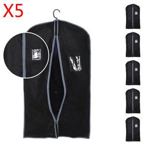 5x-Breathable-Zip-Up-Hanging-Suit-Dress-Coat-Garment-Bag-Clothes-Cover-Dustproof