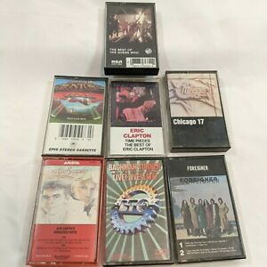 Vtg-Rock-Cassette-Lot-of-7-Tapes-Foreigner-Clapton-Guess-Who-BTO-Boston-Chicago