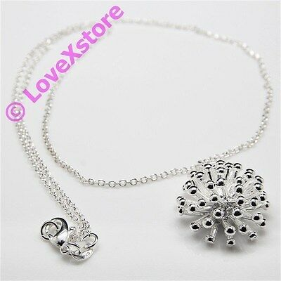 925 Sterling Silver Plated Mid-Dandelion Chain Necklace Necklaces Free Shipping!