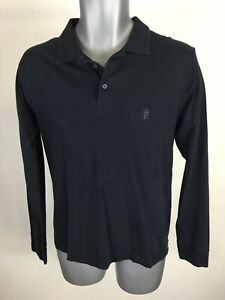 MENS-FRENCH-CONNECTION-NAVY-COTTON-LONG-SLEEVE-POLO-SHIRT-TOP-T-SHIRT-SIZE-M