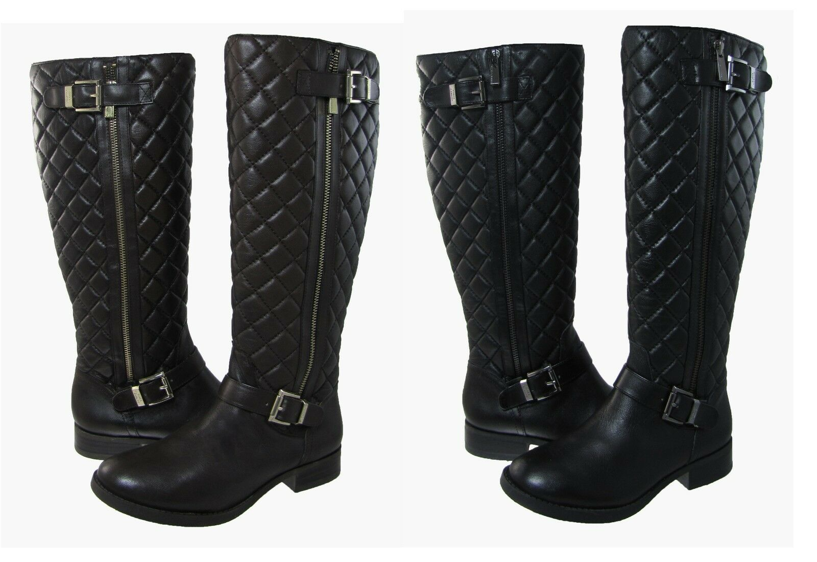 Vince Camuto Womens Fredrica Quilted Knee High Pull On Zipper Riding Boots
