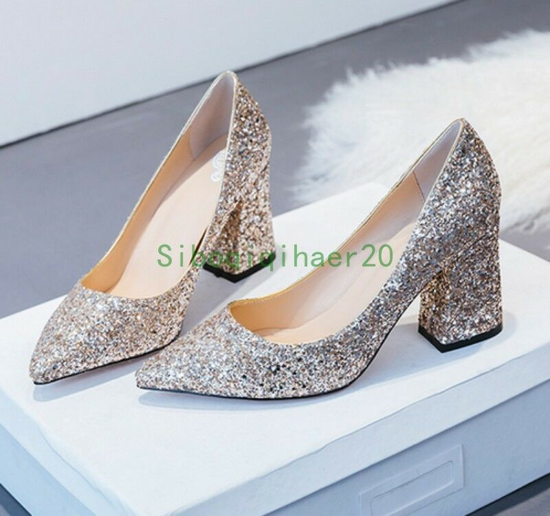 Wedding Sequins Bling Womens Bride Dress Formal shoes shoes shoes Pumps Block Heel New SIBO 30b1ff