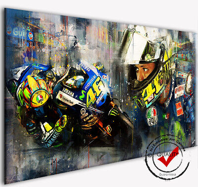 Valentino Rossi VR46 Leinwand Bild Bilder Motorrad MotoGP Wandbild Modern Kunst