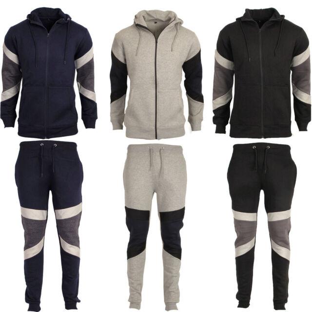 Mens Patch Contrast Hoodie Sports Gym Zip Up Tracksuit Fleece Hooded Top Hoody