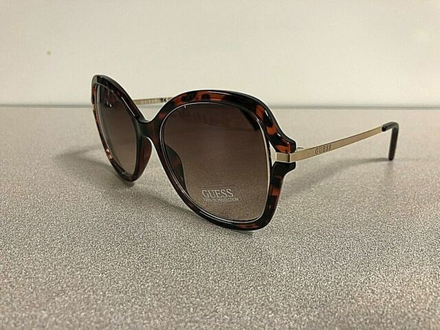 ab124753c54 New GUESS Women s Designer Sunglasses Butterfly Eyewear Tortoise Gold Frame