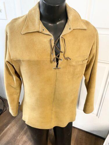 Vtg 50s Tregos Westwear Leather Tie Suede Men's We