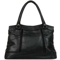 Wilsons Leather Womens Double Handle Leather Shopper Black