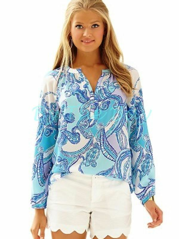 New Lilly Pulitzer Elsa ELSIE TOP SEARULEAN Blau TEST THE WATER XS S