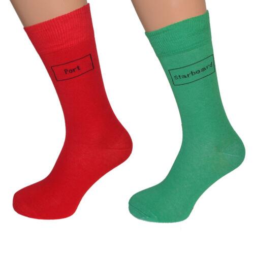 divertente Rosso Verde Set per tutte le sailiors Uomo//Bambini Taglie Port Starboard Calzini