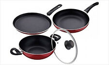 Non Stick Nirlon Cookware 2.6 MM 3 Pcs Set Tawa+Pan+ Kadhai Combo Offer