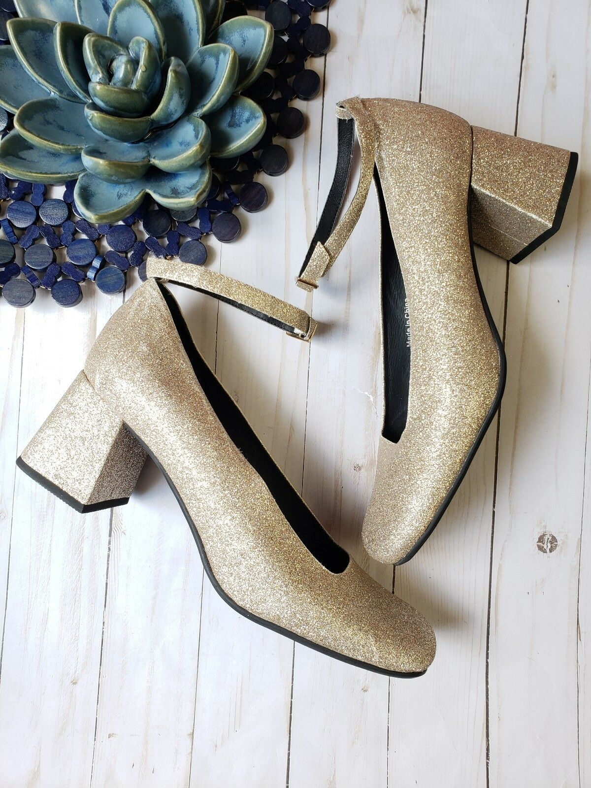 New JEFFREY CAMPBELL gold GLITTER ANKLE STRAP CHUNKY HEELS SIZE 10 NWOB