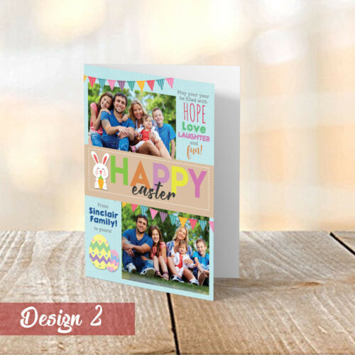 A5 Easter CardsPersonalised Family PhotosFolded Happy Easter Greetings