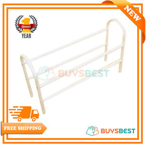 H-amp-L-Russel-Ltd-2-tier-White-Metal-Expanding-Shoe-Rack-Large-MS5010