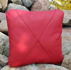 coussin en cuir 40x40 rouge feu ausgleichskissen housse de. Black Bedroom Furniture Sets. Home Design Ideas