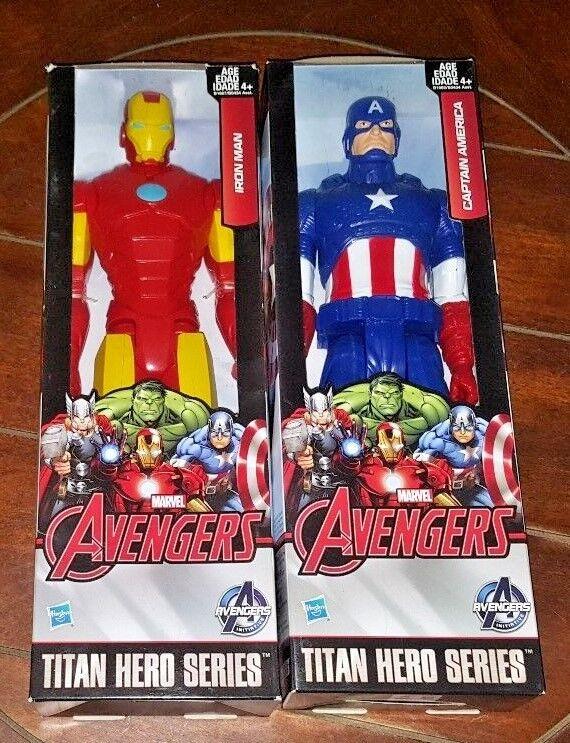 Brand New Hasbro CAPTAIN AMERICA + IRON MAN Titan Hero Series Action Figures