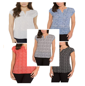 NEW-Hilary-Radley-Women-Printed-Short-Sleeve-Blouse-VARIETY