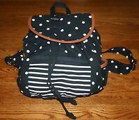 Abercrombie Classic Girl's Backpack Book Bag Tote Navy W White Polka Dots
