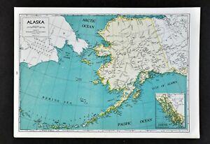 Details about 1944 Geographical Map Alaska Juneau Anchorage Nome Fairbanks  Kenai Bering Strait