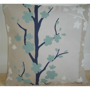16034 Cushion Cover Duck Egg and Dark Navy Blue White Beige  Floral Trees - COVENTRY, West Midlands, United Kingdom - 16034 Cushion Cover Duck Egg and Dark Navy Blue White Beige  Floral Trees - COVENTRY, West Midlands, United Kingdom