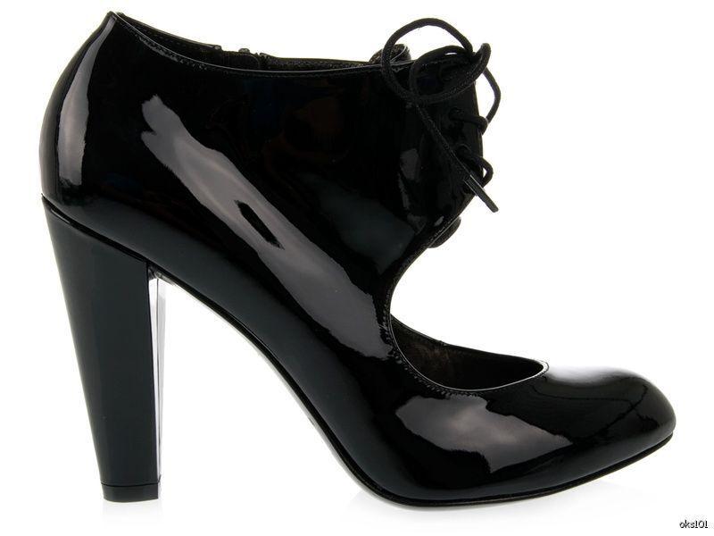 Nuevo Nuevo Nuevo Marc Jacobs Negro Patente Con Cordones Zapatos Abotinados Tacones Italia 38 US 8 7.5 7  tomar hasta un 70% de descuento