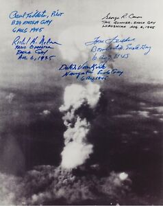 Enola Gay, 5 Crew Members Signed B&W 8x10 Photograph, VF+