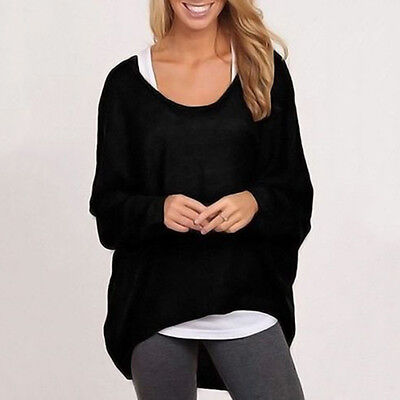Plus Size Womens Casual Baggy Tops Pullover Jumper Loose Batwing Sleeve T-shirt