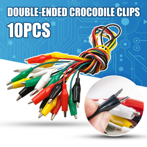 10Pcs Double-ended Crocodile Clips Cable Alligator Clips Wire Testing Wires