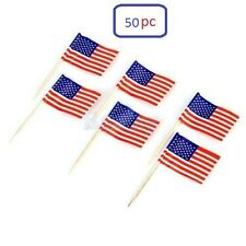 50 Cupcake Picks Cake Toppers Decor USA American Flag Party Supplies Decorations