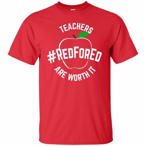 Teacher Support Red for Ed T-Shirt WA #redfored Unisex Shirt Short Sleeve S-3XL