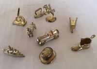 Monopoly Deluxe Edition Game Pieces Tokens Lot of 9 Gold Toned