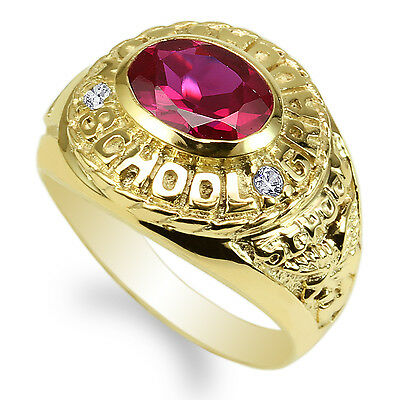 JamesJenny Yellow Gold Plated Ruby Marquise CZ 2017 Graduation Ring Size 4-9